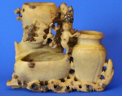 Asian Oriental Soapstone Carved Vase Triple Inkwell PARTS MISSING *[17276]