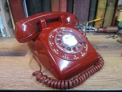 Red Rotary Dial Desk Telephone  Itt Bell Retro Western Electric Pastel