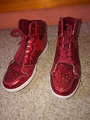 Pastry High Top Tennis Shoe/Sneaker Size 7.5 Red Sparkly Glitter