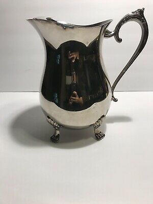 Leonard Silver Plate Vintage Pitcher Paw Footed Large Water Jug
