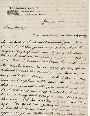 63178. Jan 1917 Letter from J.H. Kirkpatrick San Antonio Texas to F.Morse Wemple