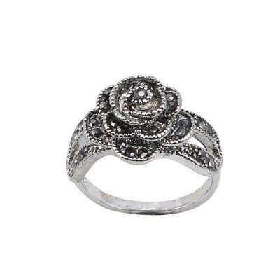 Antique Style Rose  Vintage Filigree Flower Ring Stunning Ladies Ring Q