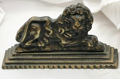 Antique Genuine Authentic Victorian Brass Lion Doorstop Early Cast Two Piece