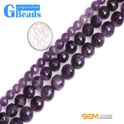 Natural Purple Dream Lace Amethyst Gemstone Faceted Round Beads Free Shipping