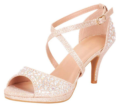 Cambridge Select Womens Open Toe Strappy Cutout Caged Crystal Rhinestone Chunky Platform Wedge Sandal