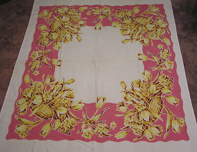 Vtg Cotton Tablecloth Big Yellow Flower Baskets on Pink 44 X 52
