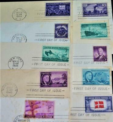 Lot Of 10 U.s. Postal Service First Day Cover Issue Letters 1943 - 1946 Vintage