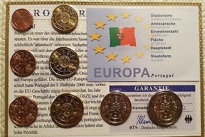 1 cent - 2 euros Euro Coins of Portugal UNC 2002-2009 Complete set of 8 values