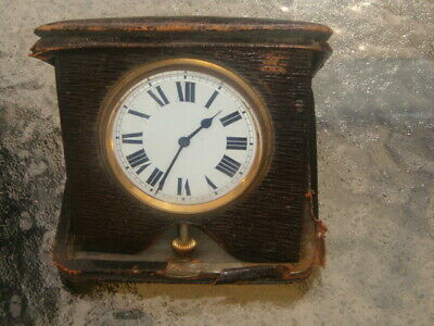 Buren Swiss Vintage h.wound Art Deco 7 j beautiful travel clock leather case