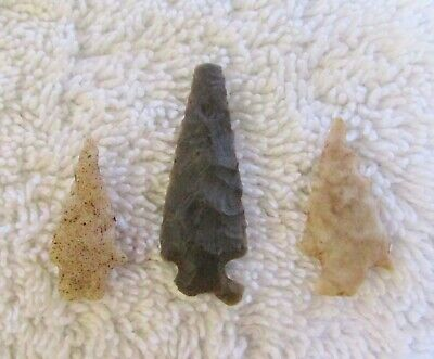 3 Ancient Indian Stone Arrowheads Bird Point Projectiles Texas County Missouri