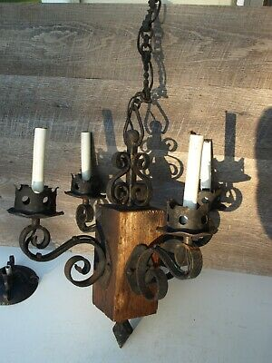 Vintage Gothic Medieval Style Wrought Iron & Wood 4 Light Chandelier Fixture