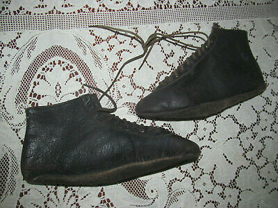 Antique Pair Leather Exercise Gymnasium Sport Gym Boots Shoes~Lace Up Soft Soles