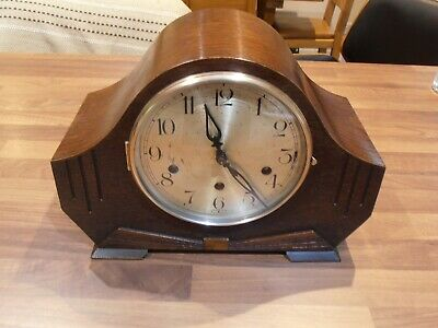 Antique Oak Cased Chiming Mantel Clock with Haller Movement for service / repair