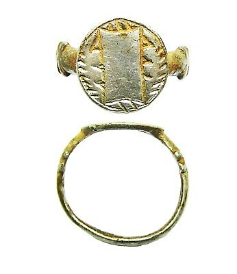 Wonderful 15th century medieval silver signet ring geometric design size 8