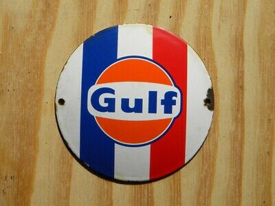 """Gulf Old Porcelain Sign ~4-3/4"""" Racing Oil Pump Gas Station Advertising Lubester"""
