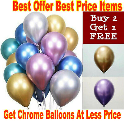 10-100X Mixed 10 Inch Chrome Latex Helium Balloons Pearl Metallic Ballons Party