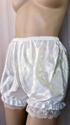 White Satin & Lace Lady's  Ruffled Un-Lined Panty Bloomers S/5