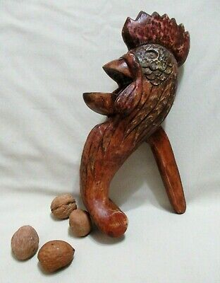 Vintage Handcarved Polychromy Wood Rooster Bird Figure Nutcracker Complete Works