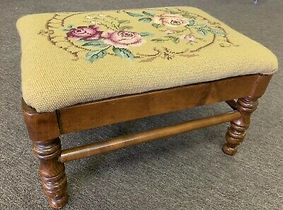 Vintage Tell City Foot Stool Rose Needlepoint Cover #48 Andover