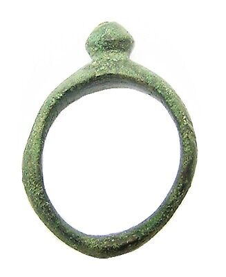 3rd - 1st century B.C. Iron Age Celtic bronze finger ring with raised knob bezel