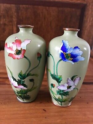 A Pair Of Antique Japanese Cloisonne Small Vases
