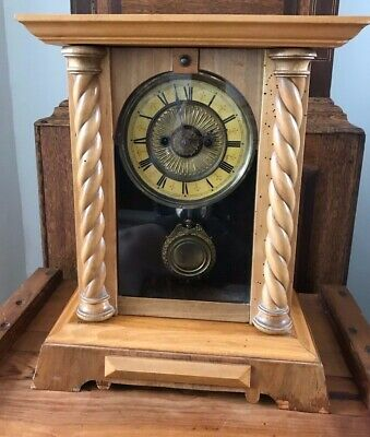 Rare Antique Wurttemburg German Beech Cased Mantle Bracket Clock