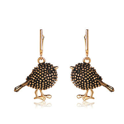 Cold Bird Shape Drop Earrings Crystal Ancient Gold Plated Animal Ear Jewelry
