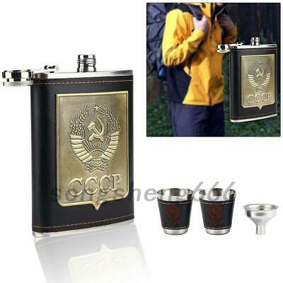 UK 8 Oz Hip Flask Whisky Bottle Sets With 2 Cups Funnel Stainless Steel Gifts