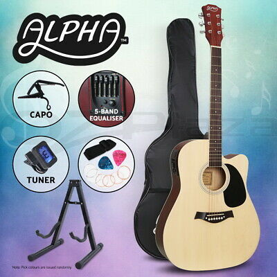 "Alpha 41"" Inch Electric Acoustic Guitar Wooden Classical 3/4 Size EQ Capo Nature"