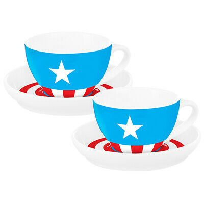 Marvel Captain America Porcelain Design Cup and Saucer Set of 2