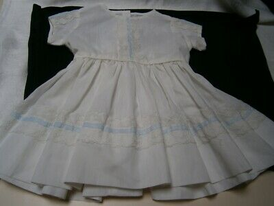 Vintage ( 2 - 3 Years) White Dress With Blue Ribbon & White Lace Gathered Skirt