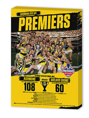 2017 Premiership Premiers Richmond Tigers AFL Wall Canvas Sign Print Team Photo