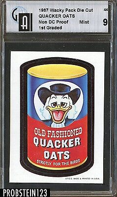 """1967 Topps Wacky Packages #44 """"Quacker"""" Non Die Cut PROOF Card 1st Graded GAI 9"""