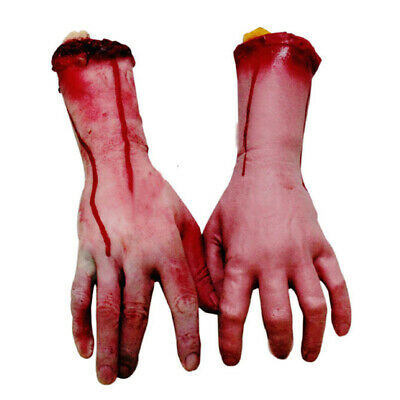 2PCS HALLOWEEN Prop Realistic Hand Terror Bloody Fake Body Parts Severed Arm Toy