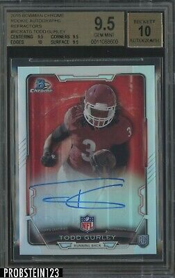 2015 Bowman Chrome Refractor Todd Gurley Carnero RC Rookie BGS 9.5 con / 10 Auto