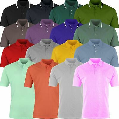 New Mens Polo Shirt Cotton Short Sleeve Premium Pique Casual Plain Striped Top