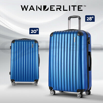 Wanderlite 2PCS Carry On Luggage Sets Suitcase Travel Hard Case Blue Lightweight