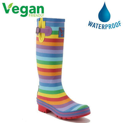 Evercreatures Evergreen Womens Rainbow Vegan Wellies Wellington Boots Size 4-8
