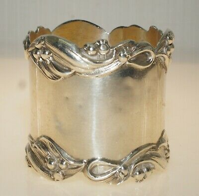 Antique Floral Repousse Signed NPC Monogram RWH Sterling Silver Napkin Ring 32gm