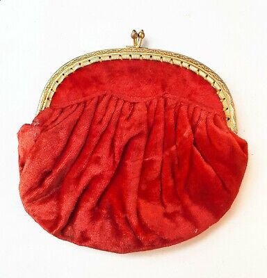 Vintage 1950s Ladies Evening Purse/ Bag in Red Velvet & Gold-Tone. Fashion Gift