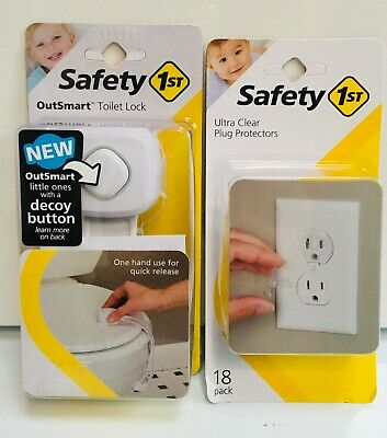 SAFITY 1st: ULTRA CLEAR PLUG PROTECTORS(18 pack) + OUTSMART TOILET LOCK (1 Pack)