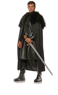 Black Mens Adult Renaissance Knight Faux Fur Costume Cape