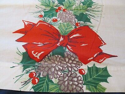"""Vintage Christmas Tablecloth Red Bows and Pine Cones 50"""" Wide x 66"""" Long"""