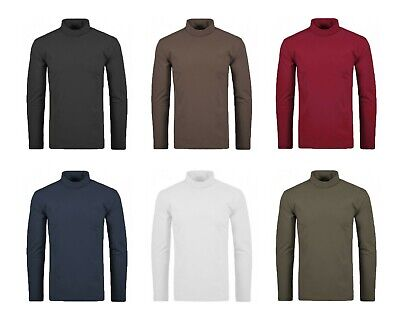 Mens Heavy Cotton Winter- Turtle Roll Polo Ribbed Neck - Ski Golf Top S-5XL