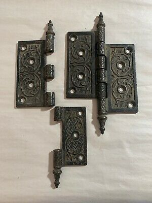 Vintage Antique Metal Ornate Victorian Style Steeple Tip Door Hinges