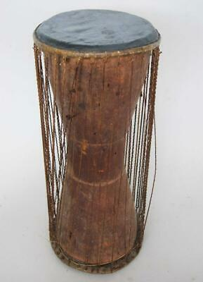 SUPERB ANTIQUE AFRICAN TRIBAL TALKING DRUM 1850 figure carving club