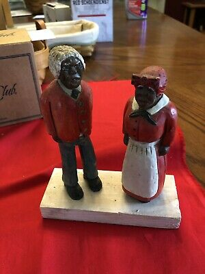 Black Americana: Hand Carved And Painted Wooden Black Couple!  Very Interesting!