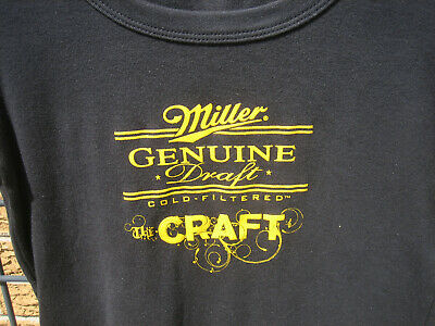 (M) Ladies Miller Genuine Draft lite Beer T Shirt BELLA top  MD THE CRAFT bar