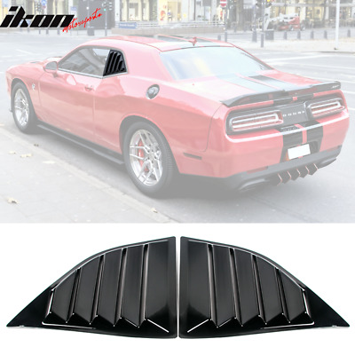 Fits 08-20 Dodge Challenger XE V2 Style Gloss Black Window Louvers Scoop 2Pc Set