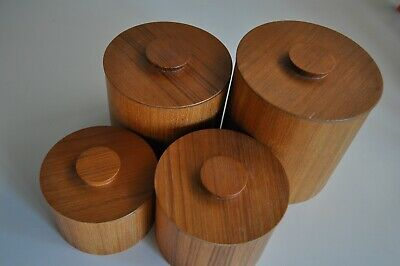 Mid Century Modern Teak Canister Set of 4 Amthor Imports Made in Japan